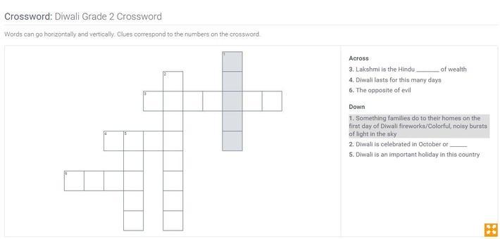 Diwali | Grade 2 Crossword