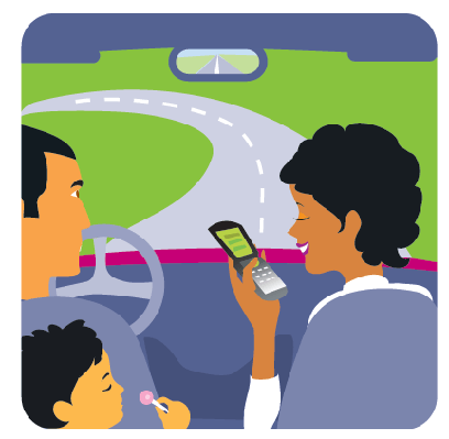 Illustration of Parents and Child in A Car | Clipart