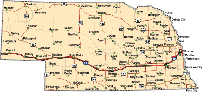 Nebraska Highway Map  | Clipart