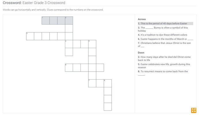 Easter | Grade 3 Crossword