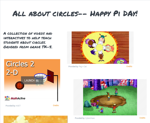 Happy Pi Day! (Circles for grades K-6)