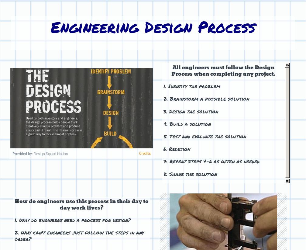 Engineering Design Process Pbs Learningmedia