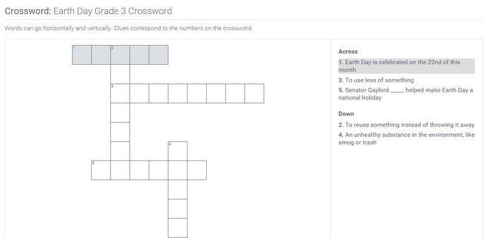 Earth Day | Grade 3 Crossword