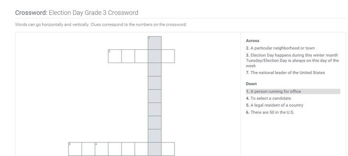 Election Day | Grade 3 Crossword