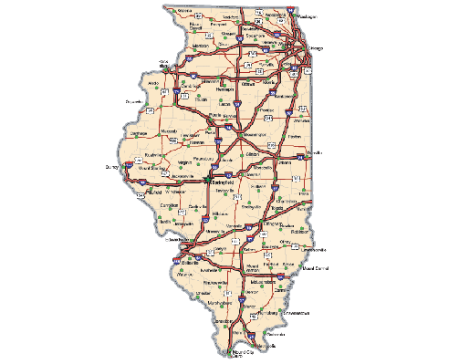 Illinois Highway Map  | Clipart