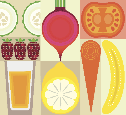 Montage of Healthy Fruit, Juice and Vegetables | Clipart