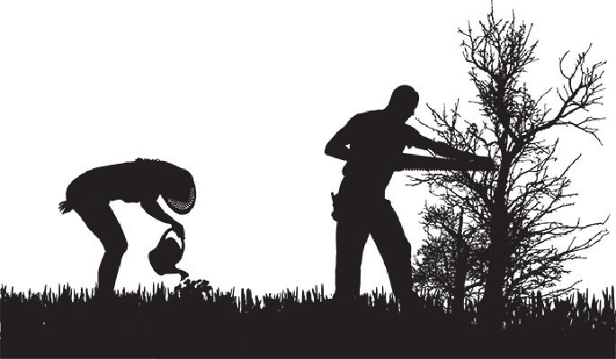 Silhouette of People Who Work in the Garden | Clipart