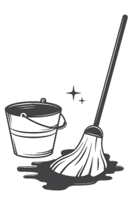 Set of Black and White Vintage Cleaning Tools | Clipart