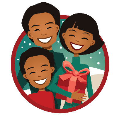 Family with Christmas Present | Clipart