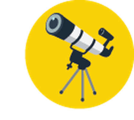 Science Icons - Yellow and Blue - Telescope | Clipart