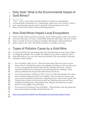 Environmental Effects of Gold Mining Article