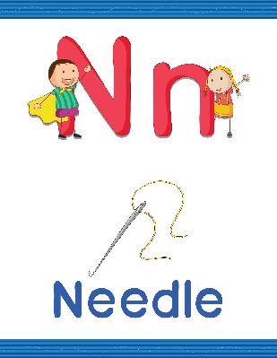 Alphabet Worksheets - N for Needle | Clipart