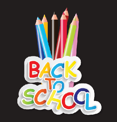 Back to School Concept (colored pencils on black background) | Clipart