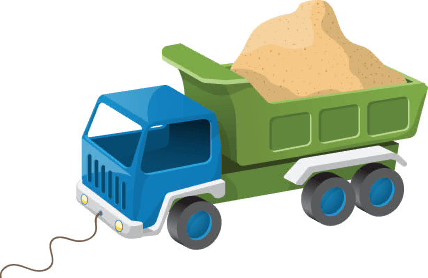 Colorful Dump Truck Toy with Sand  Illustration | Clipart