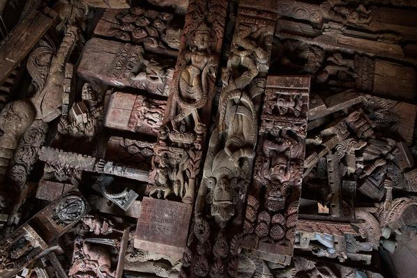 Intricately Carved Religious Art is Piled in a Secure Location in Patan, Nepal | Global Oneness Project