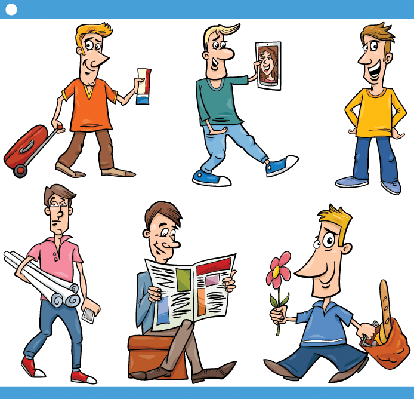 Men Characters Set: Cartoon Illustration | Clipart