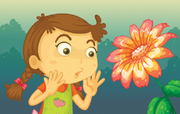 Girl Shocked by a Giant Flower | Clipart