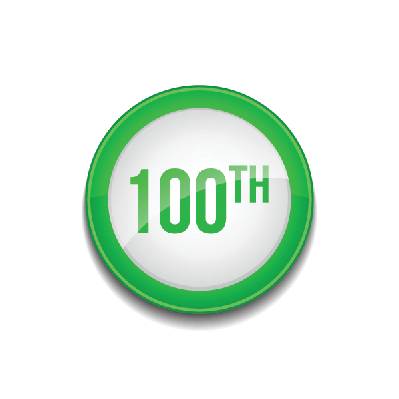 100th Number Sign: Circular Green Button Icon | Clipart