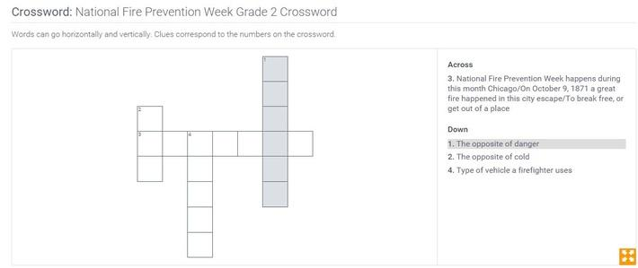 National Fire Prevention Week | Grade 2 Crossword