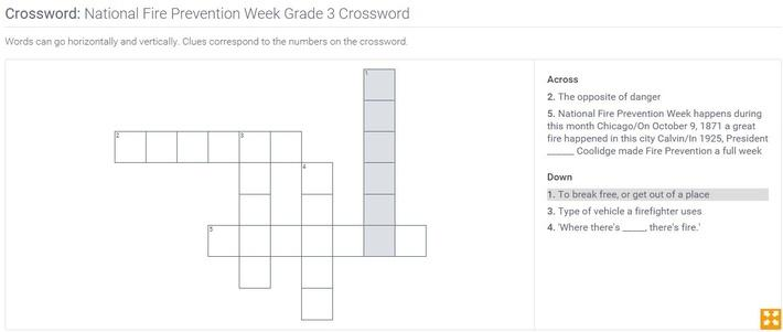 National Fire Prevention Week | Grade 3 Crossword