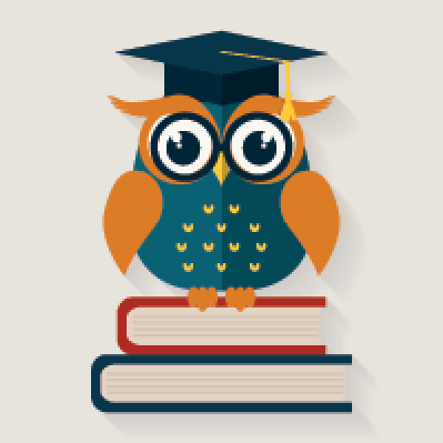 Wise Owl Sitting on the Books   Clipart