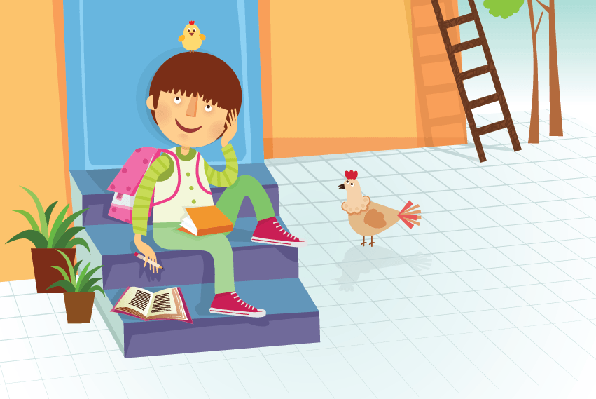 Boy Sitting on Stairs | Clipart