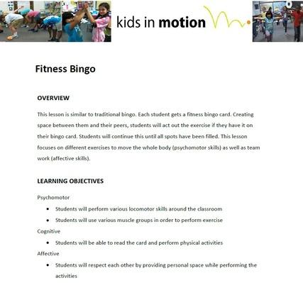 Fitness Bingo Lesson Plan
