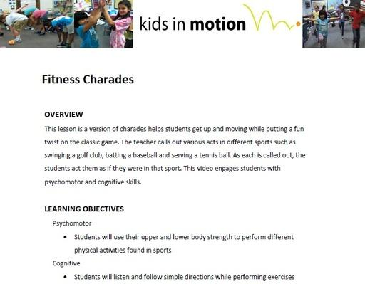Fitness Charades Lesson Plan