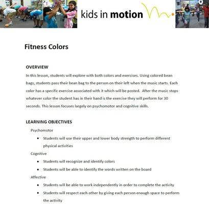 Fitness Colors Lesson Plan