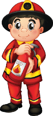 Fire Man Holding A Extinguisher | Clipart