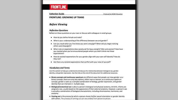 FRONTLINE: Growing Up Trans Professional Development Collection Guide (PDF)