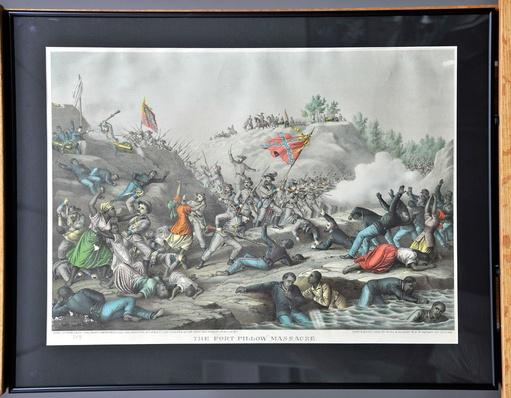 hand-colored lithographshowing the battle at Fort Pillow, Tennessee