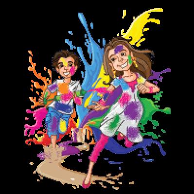 Kids Enjoying Holi | Clipart