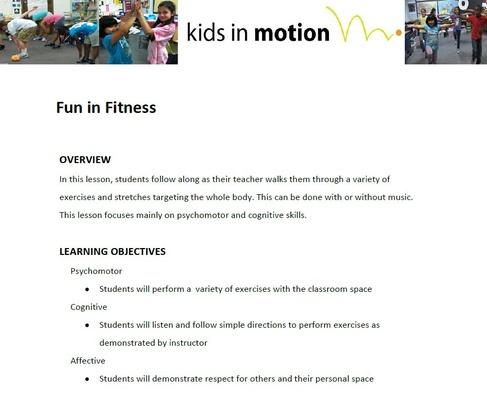 Fun In Fitness Lesson Plan