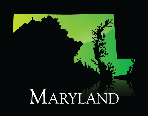 Maryland Green Shiny Map | Clipart