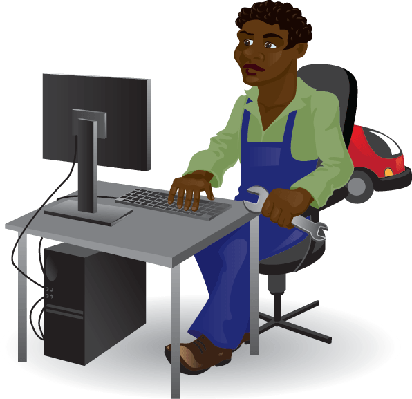 Mechanic Sitting At The Computer | Clipart