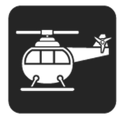 Travel and Transportation - Black & White - Helicopter | Clipart