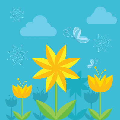 Spring Flowers - Flowers and Butterflies | Clipart