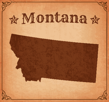 Montana Grunge Map with Frame | Clipart