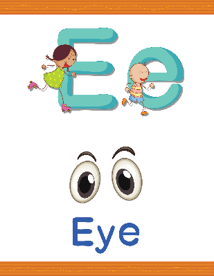 Alphabet Worksheets - E for Eye | Clipart