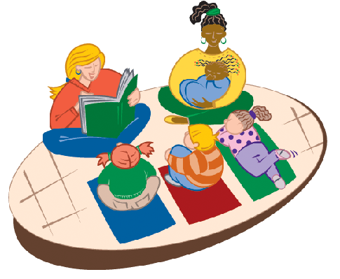 Teens Reading to Children | Clipart