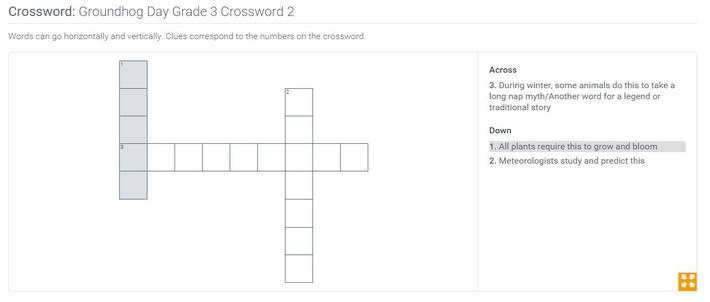 Groundhog Day | Grade 3 Crossword 2