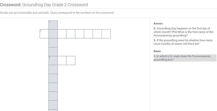 Groundhog Day | Grade 2 Crossword