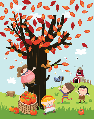 Four Seasons Scenery - Autumn Persimmons | Clipart