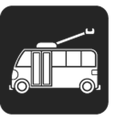 Travel and Transportation - Black & White - Electric Trolley | Clipart