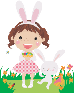 Easter Drawing With Cute Little Girl | Clipart