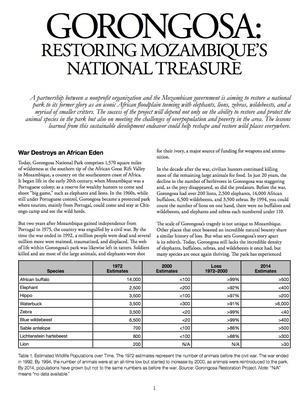 Gorongosa: Restoring Mozambique's National Treasure (Article)