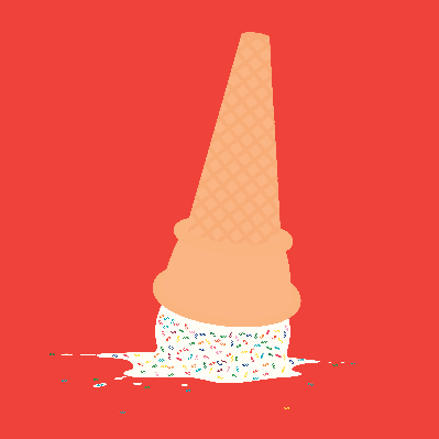 Upside Down Dropped Dollar Sign Ice Cream Cone | Clipart