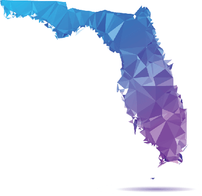 Polygon Triangle Map, Blue: Florida | Clipart