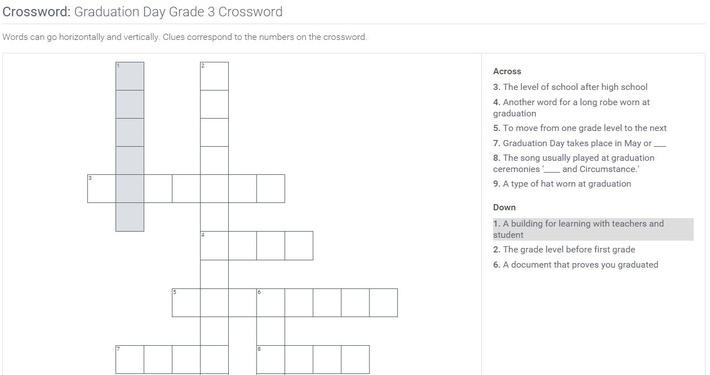Graduation Day   Grade 3 Crossword